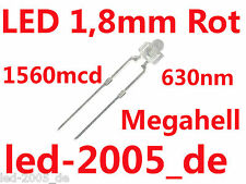 50 x LED 1,8mm Rot, 1560mcd, 630nm, LED ROT 1.8mm, MINILED ROT 1,8mm