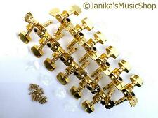12 string guitar machine heads gold buttons+screws slotted headstock tuners new