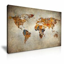 Vintage World Map Canvas Wall Art Picture Print 76x50cm