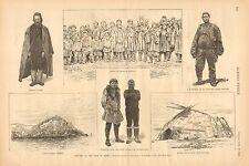 Siberia, Russia, Cape Navarin, Frank Fuller, J.B. Vincent, 1887 Antique Print