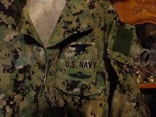 AOR2 NWU WOODLAND SHIRT Navy Seal W/ TRIDENT MEDIUM X SHORT   NEW WITH TAG