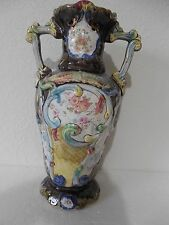 "Antique majolica English vase/urn 12"" tall FINE SPECIMAN Price cut!"