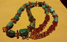 "LEE SANDS - AMBER & TURQUOISE NECKLACE  Gold Tone 28"" with matching Earrings"