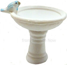Miniature Fairy Garden White Resin Bird Bath With Bird Mini Fairies House Home
