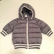 H&M shiny grey hooded padded bomber winter jacket Baby boys clothes 3-6 Months