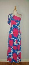 TRACY NEGOSHIAN FLORAL MAXI DRESS FULLY LINED ONE SHOULDER SZ MED
