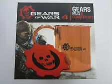 Gears of War 4: Gears Copper and Stainless Mug & Leather Coaster Set - Brand New