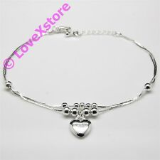 925 Sterling .925 Silver Plated Heart Double Snake Chain Anklet Charm Anklets pc