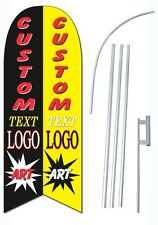 """15"""" DOUBLE SIDED Custom Print Windless Swooper Feather Flag  ART DESIGN INCLUDED"""