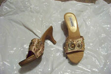 womens steve madeen precious gold beaded strap heels shoes size 7 1/2