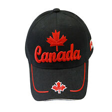 CANADA  COUNTRY FLAG WITH MAPLE LEAF BLACK EMBROIDERED HAT CAP ..  NEW