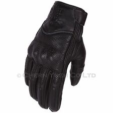 Vented Leather Motorcycle Motorbike Riding Protective Gloves Medium & Carabiner