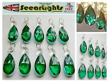 10 CHANDELIER GLASS CRYSTALS OVAL LIGHT DROPS ANTIQUE GREEN PRISMS BEAD DROPLETS