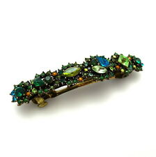 "Jeweled 3"" Green Blue Rhinestone Crystal Flowers Vintage Barrette Hair Clip Pin"