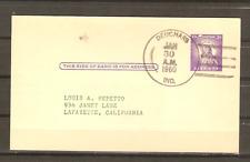 DPO 1960 Deuchars IN  on 3c Postal Card