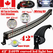 42INCH 240W CURVED LED LIGHT BAR FLOOD SPOT COMBO ATV UTE SUV OFFROAD TRUCK JEEP