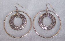 GUESS EARRINGS Large Hoops Dangle Silver Metal Colored Logo Cutout G4 *NEW*