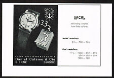 1950's Vintage 1956 Daniel Calame - Dacal Watch Co - Paper Print AD