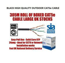 BRAND NEW ROLL OF 305M BLACK OUTDOOR CAT5E NETWORK CABLE *FREE SHIPPING* 1000 ft