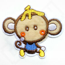 FUNNY CHEEKY MONKEY Iron Sew On Embroidered Patch Tshirt Transfer Badge Kids