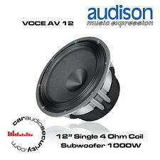 "Audison AV 12 - 12"" Single 4Ohm Coil Subwoofer 1000W Open Air Design Subwoofer"