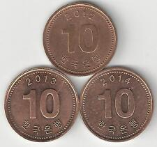 3 DIFFERENT 10 WON COINS from SOUTH KOREA (2012, 2013 & 2014)