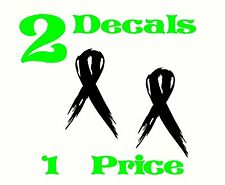2 Black Ribbon Decals. sickle cell, melanoma, narcolepsy awareness