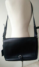 Hugo Boss Men's Black Leather Messenger Laptop Shoulder Satchel Bag Work