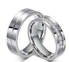 Couple Set Rings Wedding Band White Titanium Stainless Steel ring Free Engraving