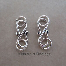 2 sterling silver 925 Bali plain S hook jewelry clasp 14mm