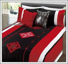 Oriental Embroidery Black Red White 3pc KING QUILT DOONA COVER SET *280TC Brand