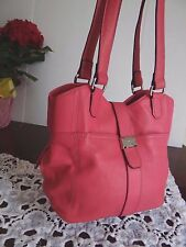 NWOT Tignanello Pink Genuine Leather Satchel Tote Bag