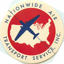 NATIONWIDE AIR TRANSPORT SERVICE - Great ART DECO Airline Luggage Label