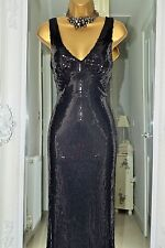 ⭐️ Ariella ⭐️ Designer Long Black Sequin Dress Size 40 UK 12 New Debenhams