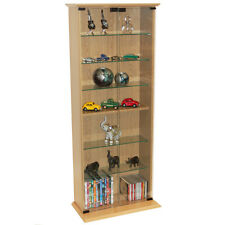 BOSTON- Glass Collectable Display Cabinet  CD DVD Storage Shelves  Beech MS1013