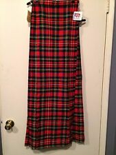 Vintage Tartan Plaid Pleated Kilt Long Skirt Size 10 Made in Great Britain