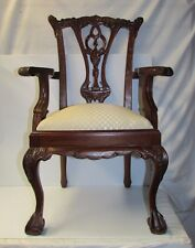 Antique Hand Carved Child's Arm Chair with Claw Foot ~ Upholstery Redone