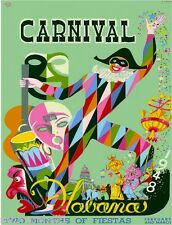 1948 Havana Cuba Cuban Caribbean Carnival Vintage Travel Advertisement Poster