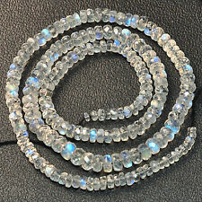 3mm-5.3mm Rainbow Moonstone Faceted Rondelle Beads 16 inch Strand