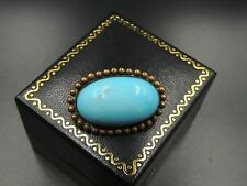 VICTORIAN ANTIQUE TURQUOISE BROOCH PERSIAN BLUE TINY VEINS  ROBIN EGG CABOCHON!