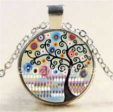 Black Tree of Life Cabochon Glass Tibet Silver Chain Pendant Necklace