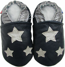 carozoo silver star dark blue outdoor 18-24m soft rubber sole leather baby shoes