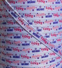 "5 yds 3/8"" M2MG PEACE LOVE MUSIC SUPER STAR GROSGRAIN RIBBON 4 HAIRBOWS BOWS"