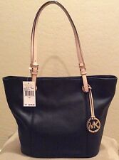 MICHAEL KORS JET SET LARGE BLACK LEATHER TOTE