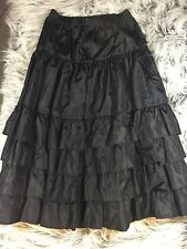 Vintage Sz L Skirt Tiered Ruffle Black Ankle Length Gothic Cosplay Regina Porter