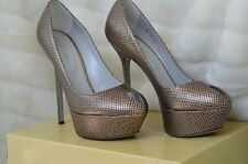 SERGIO ROSSI SHOES heels Metallic Black Pewter 41 Platform Pumps key hole
