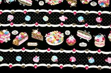 ~ {FQ} Sweet Macaroon Cake Pie Swiss Roll on Black 100% Cotton Fabric ~ Free S&H