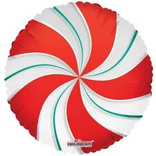"CHRISTMAS CANDY CANE RED & GREEN SWIRL WILLY WONKA SWEET 18"" FOIL BALLOON!"