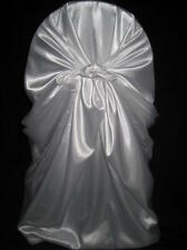 100 universal self tie satin wedding chair covers white ivory black silver champ