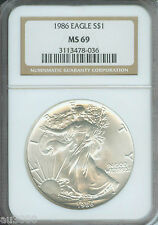 1986-2017 American Silver Eagle Ase S$1 Ngc Ms69 Full 32-Coin Set + 2 Ngc Boxes
